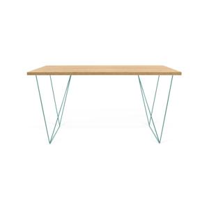 Pracovný stôl so zelenými nohami TemaHome Flow, dĺžka 140cm