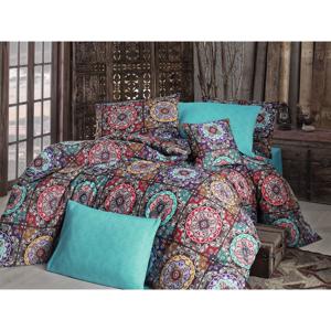Obliečky s plachtou na dvojlôžko Nazenin Home Ashley Turquoise, 200×220 cm