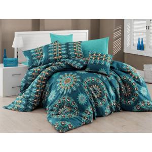Tyrkysovomodré obliečky s plachtou na dvojlôžko Nazenin Home Hula Turquoise, 200×220 cm