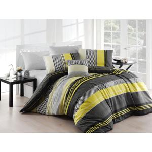 Žlté obliečky s plachtou na dvojlôžko Nazenin Home Zigo, 200×220 cm