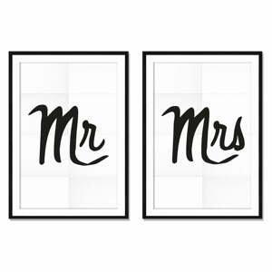 Sada 2 obrazov Really Nice Things Mr&Mrs, 40×60 cm