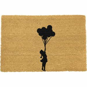 Rohožka z prírodného kokosového vlákna Artsy Doormats Flying Balloon Girl, 40 x 60 cm