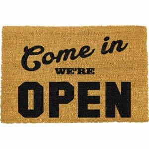 Rohožka z prírodného kokosového vlákna Artsy Doormats We're Open, 40 x 60 cm
