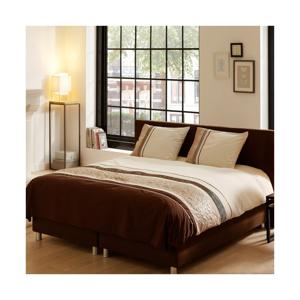 Obliečky na dvojlôžko z bavlneného saténu Descanso Brown Stripes, 140×200 cm