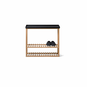 Polica na topánky/úložný stolík s čiernou doskou z dubového dreva Wireworks Hello Storage