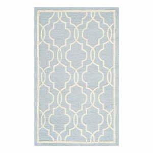 Svetlomodrý vlnený koberec Safavieh Elle Sky, 91×152 cm