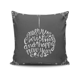 Sivý vankúš Christmas, 45x45 cm