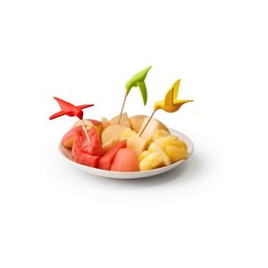 Sada 6 napichovadiel Qualy&CO Humming Bird Party Fork