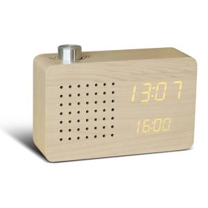 Béžový budík so žltým LED displejom a rádiom Gingko Radio Click Clock