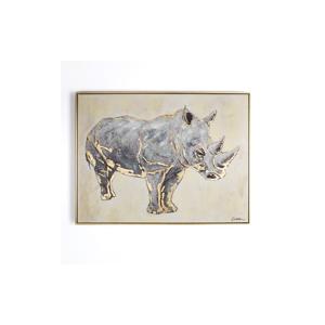 Ručne maľovaný obraz Graham&Brown Rhino, 80×60cm