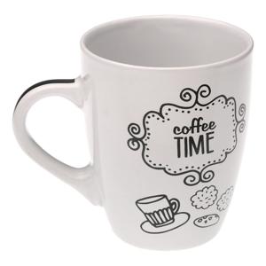 Biely keramický hrnček Versa Coffee Time, 350 ml