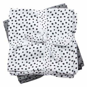 Sada 2 bielych a sivých mušelínových plienok Done By Deer Happy Dots
