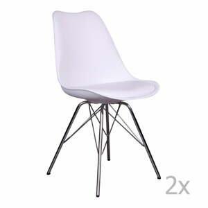 Súprava 2 bielych stoličiek House Nordic Oslo Chrome