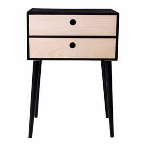 Nočný stolík z dreva paulovnia s čiernym rámom House Nordic Rimini