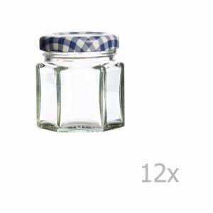 Sada 12 zaváracích pohárov s modrým viečkom Kilner Hexagonal, 48 ml