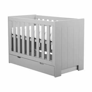 Sivá zásuvka pod detskú postieľku Pinio Calmo, 120×60cm