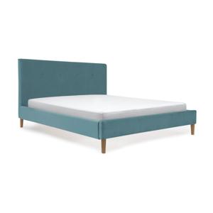 Tyrkysová posteľ s prírodnými nohami Vivonita Kent, 180×200cm