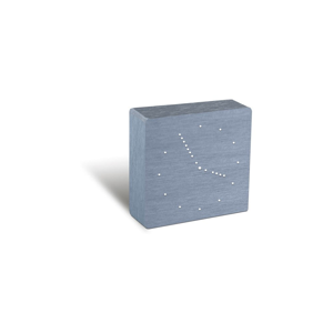Strieborný budík s bielym LED displejom Gingko Analogue Click Clock