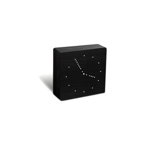 Čierny budík s bielym LED displejom Gingko Analogue Click Clock