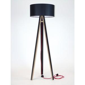 Čierna stojacia lampa s čiernym tienidloma červeným káblom Ragaba Wanda