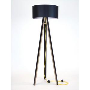Čierna stojacia lampa s čiernym tienidloma žltým káblom Ragaba Wanda