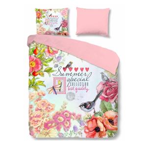 Ružové bavlnené obliečky na jednolôžko Good Morning Simone, 140 × 200 cm
