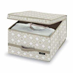 Béžový úložný box Domopak Ella, výška24 cm