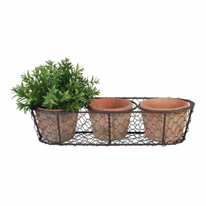 Set 3 terakotových kvetináčov a drôteného koša Esschert Design