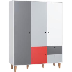 Bielo-sivá trojdverová šatníková skriňa s červeným detailom Vox Concept