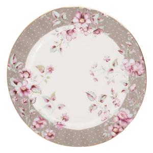 Sivo-biely porcelánový dezertný tanier Creative Tops Ditsy