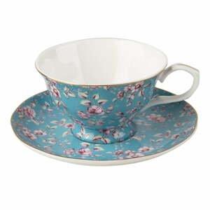 Modrý porcelánový hrnček s tanierikom Creative Tops Ditsy,200ml