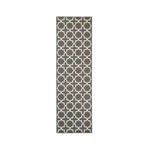 Sivý behúň s bielymi detailmi Hanse Home Joanne, 80×350 cm