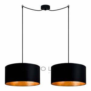 Čierno-zlaté dvojité závesné svietidlo Sotto Luce MIKA