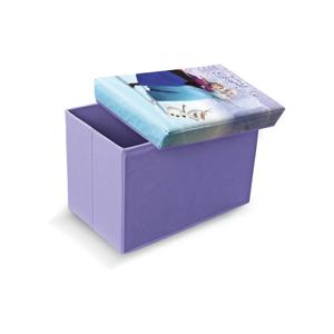 Fialová úložná taburetka na hračky Domopak Frozen, dĺžka 49 cm