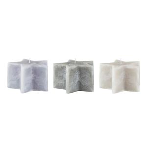 Sada 3 sivých sviečok KJ Collection Stars, ⌀ 14×8,5 cm