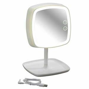 Biele stolové zrkadlo a lampička s LED svetlom Wenko Ostia