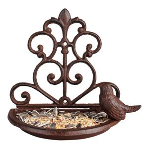 Liatinové polkruhové kŕmidlo s vtáčikom Esschert Design, šírka 18,3 cm