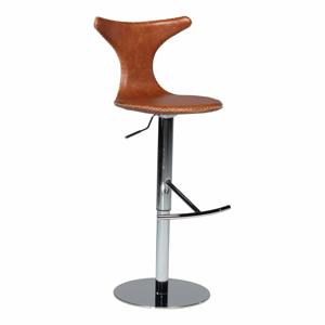 Hnedá kožená barová stolička DAN–FORM Denmark Dolphin