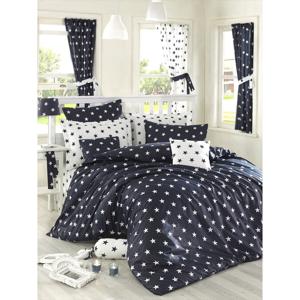 Bavlnené obliečky na dvojlôžko s plachtou na dvojlôžko Night, 200×220cm