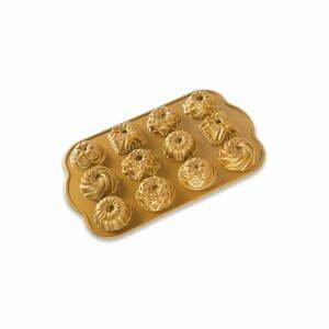 Forma na 12 minibáboviek v zlatej farbe Nordic Ware Minimix, 280 ml
