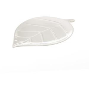 Biely keramický podnos Unimasa Leaf, dĺžka 25 cm