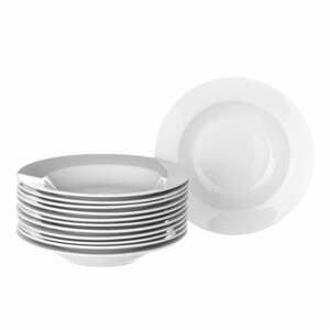 Sada 12 bielych hlbokých porcelánových tanierov Unimasa Elegant