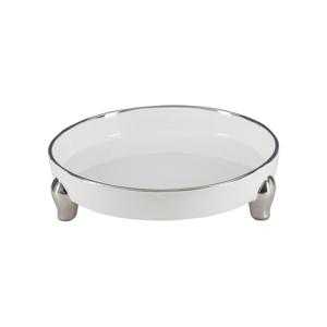 Bielo-strieborná dekoratívna keramická miska Mauro Ferretti Tasche Pin Grande