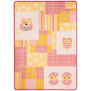 Detský ružovo-žltý koberec Zala Living Owl, 100 × 140 cm