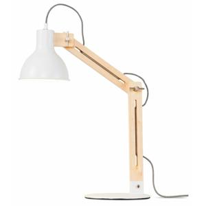 Biela stolová lampa s konštrukciou z jaseňa Citylights Melbourne