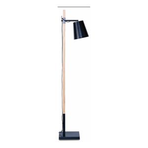 Čierna stojacia lampa s konštrukciou z jaseňa Citylights Sydney