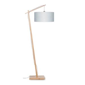 Stojacia lampa so svetlosivým tienidlom a konštrukciou z bambusu Good&Mojo Andes