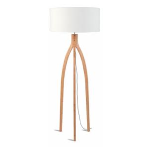 Stojacia lampa s bielym tienidlom a konštrukciou z bambusu Good&Mojo Annapurna