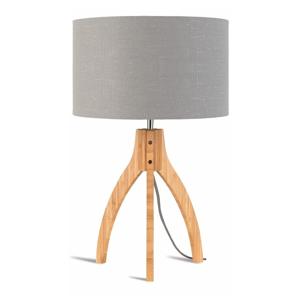 Stolová lampa so svetlosivým tienidlom a konštrukciou z bambusu Good&Mojo Annapurna