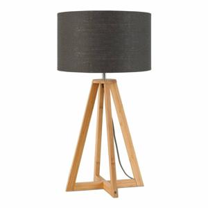 Stolová lampa s tmavosivým tienidlom a konštrukciou z bambusu Good&Mojo Everest